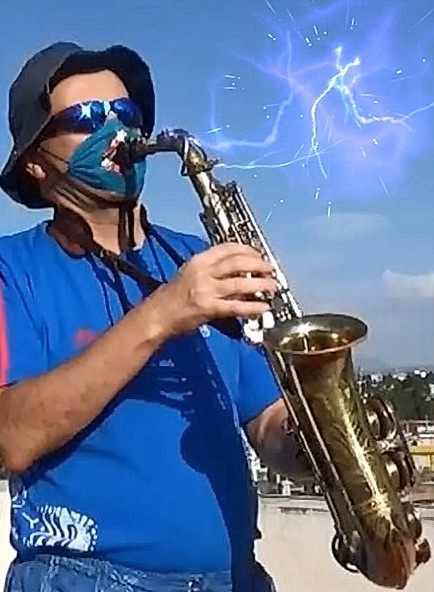 Play your Saxophone with mask, Blue Demon Sax!